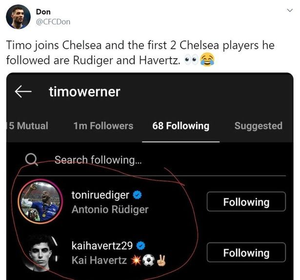 Eagle-eyed from Chelsea fans on Timo Werner's Instagram account.