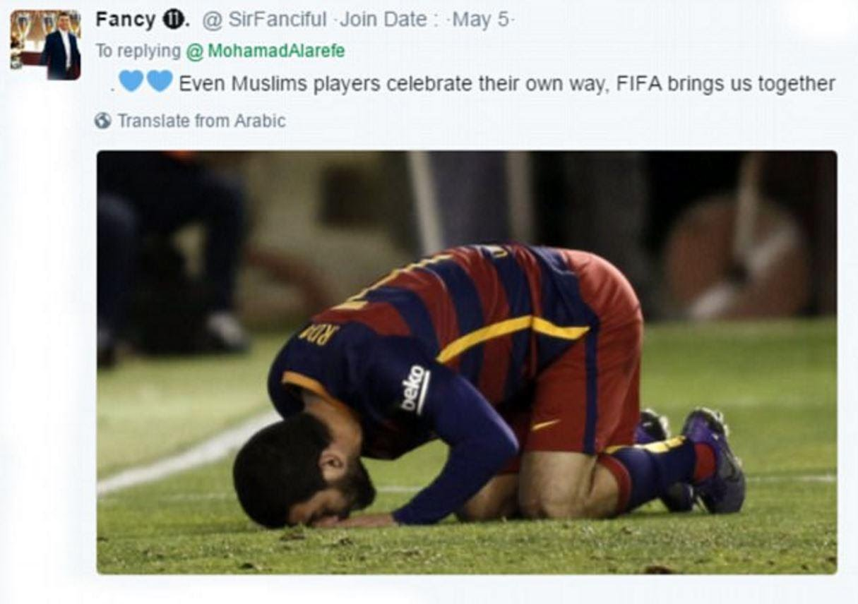 Critics said Muslim players celebrate with religious gestures too