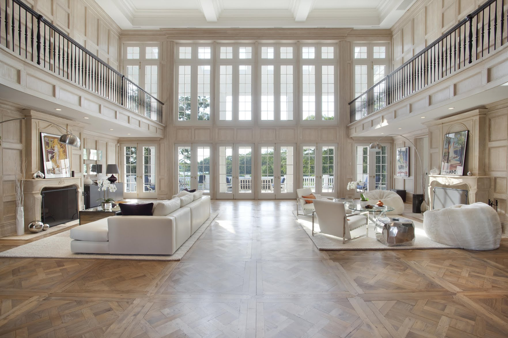The seven bed property features a stunning hall with dual fireplaces