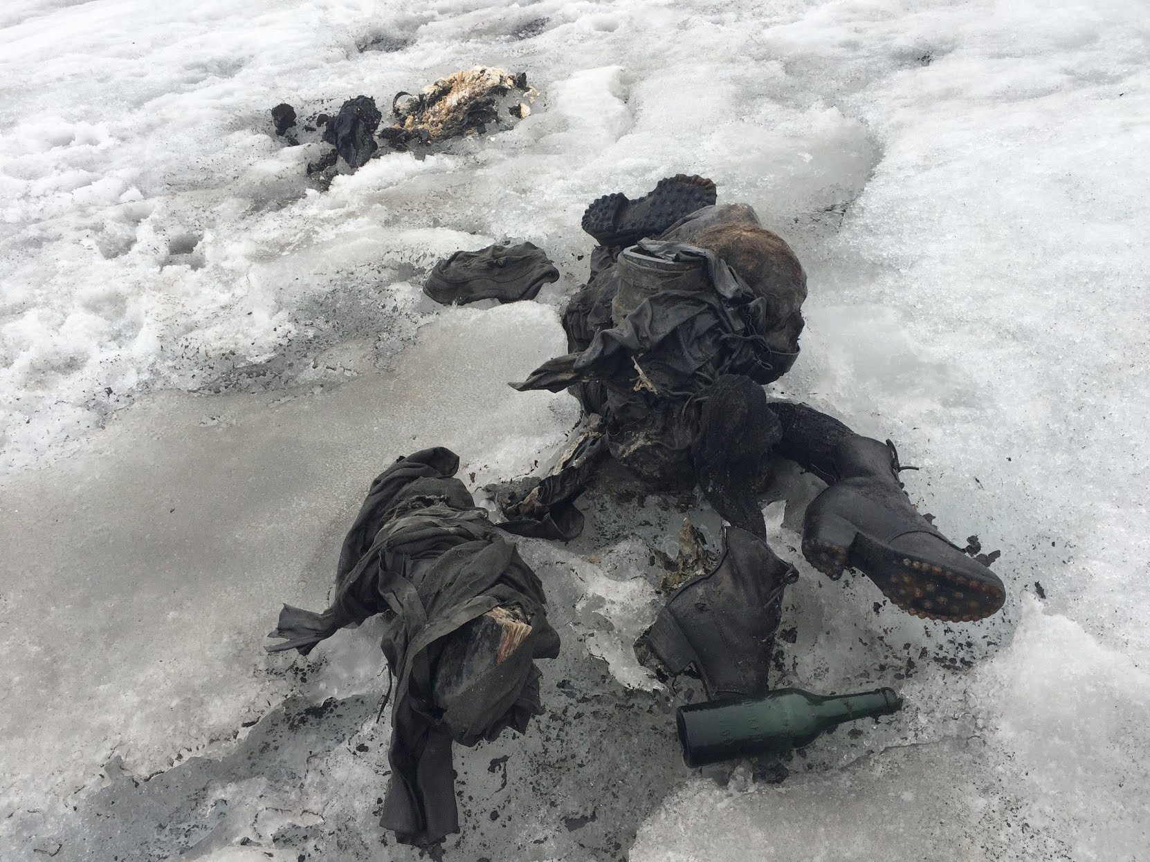 A glacier melted in the Swiss Alps, revealing the bodies of a couple